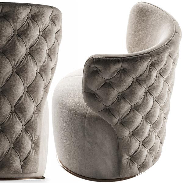 3D buttoned swivel chair model