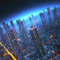 3D futuristic city future