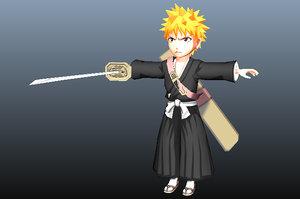 ichigo kurosaki bleach anime 3D model