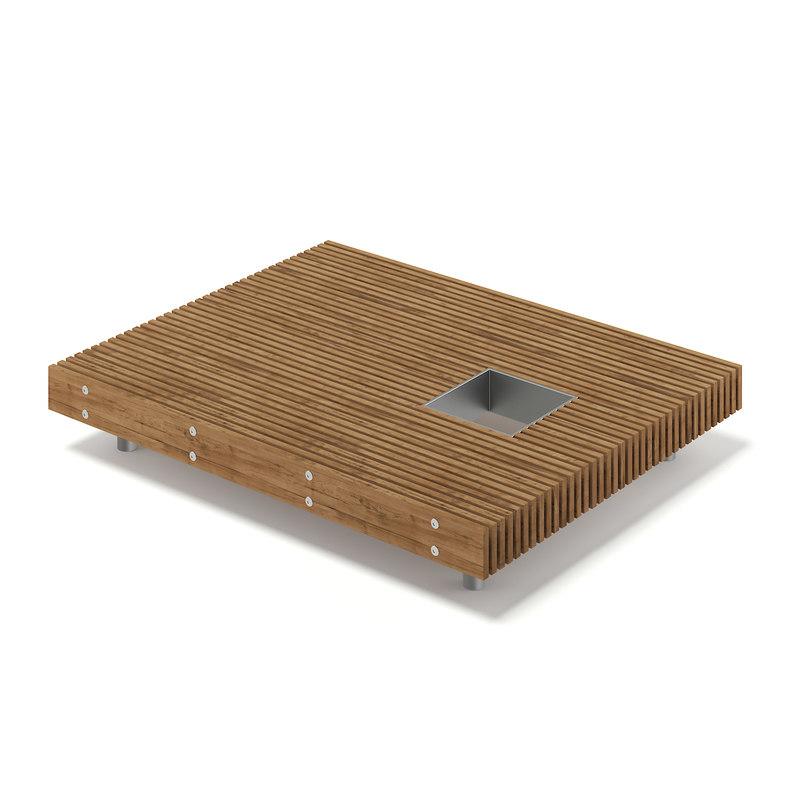 rectangular wooden mall bench 3D