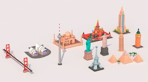 cartoon landmarks pack 3D model