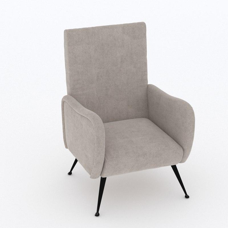 armchair reception chair 3D model
