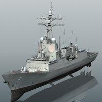hmas brisbane 41 class destroyer 3D model