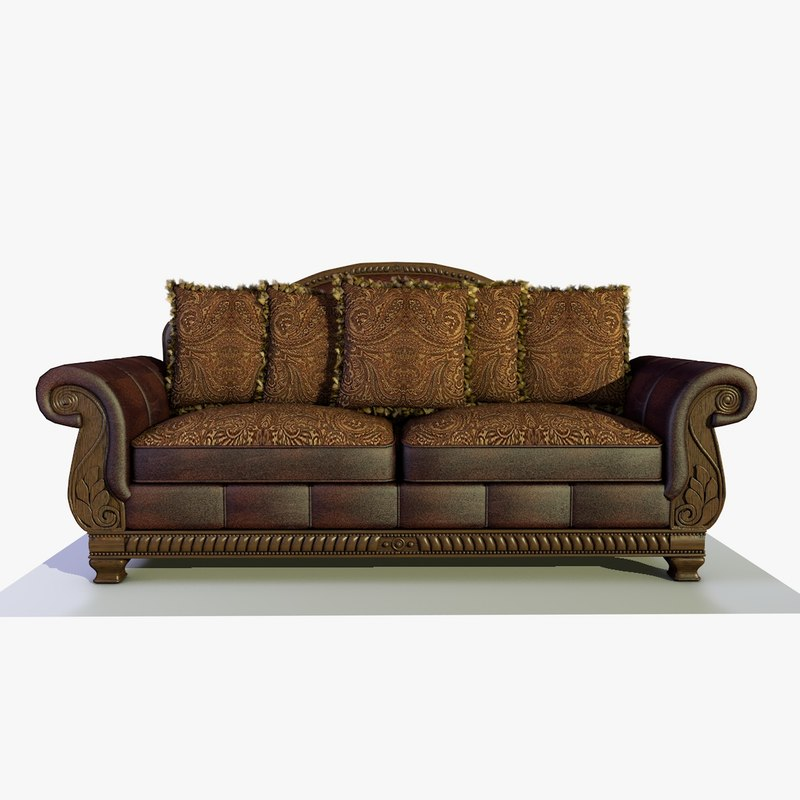 traditional solid wood fabric sofa 3D model
