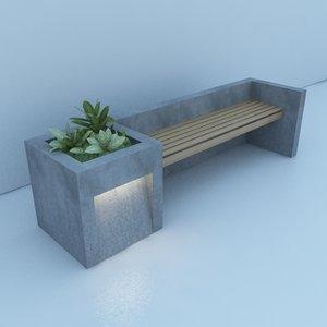 3D street bench garden