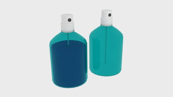 3D pusher spray transparent bottle model