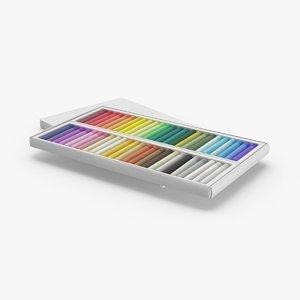 3D model oil-pastels