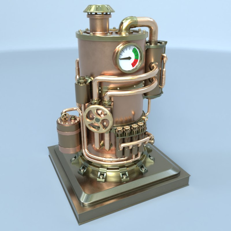 3D model steampunk boiler 02