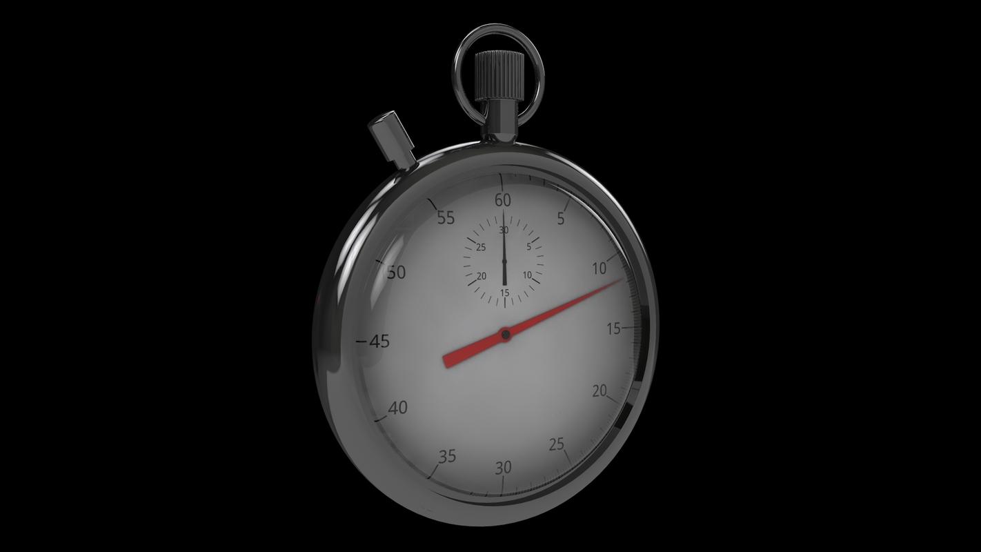 3D model stopwatch modeled start