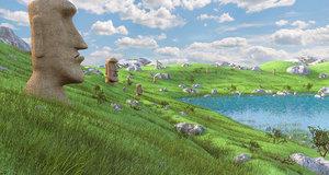 3D easter island rapa nui model