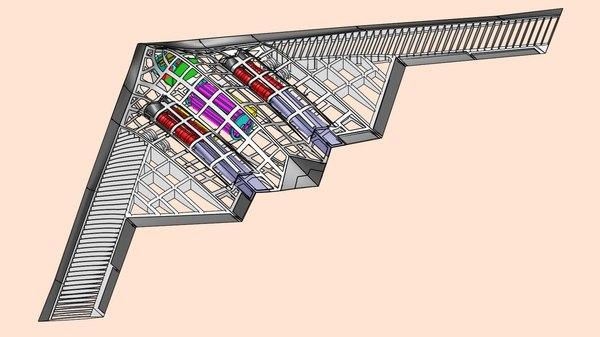 3D b2 bomber aircraft solid