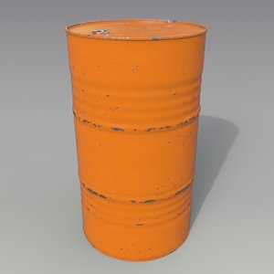 barrel oil orange 3D model