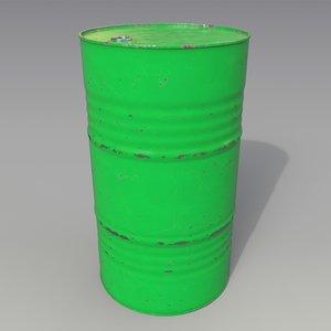 3D barrel oil green