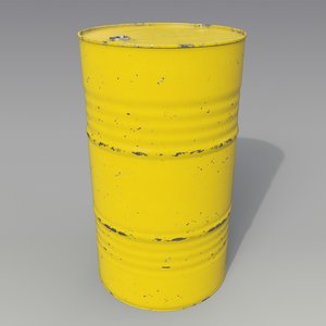 3D model barrel oil yellow
