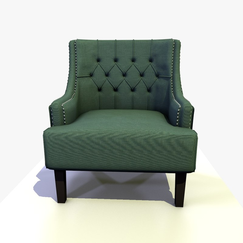 3D model classic traditional fabric chesterfield