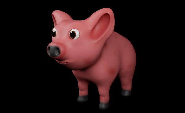 3D character cartoonic pig model