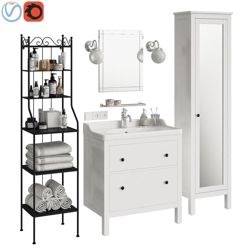 bathroom furniture ikea hemnes 3D model