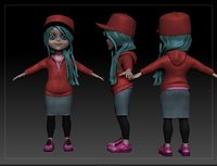 3D girl child kid model