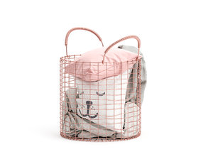 copper basket pillows blankets 3D