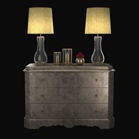 3D model cabinet table lamps red roses