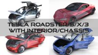 3D tesla roadster s x
