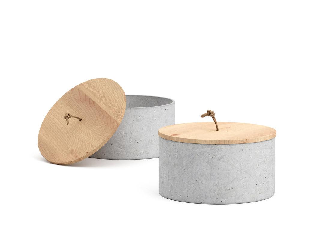 concrete box cup wooden model