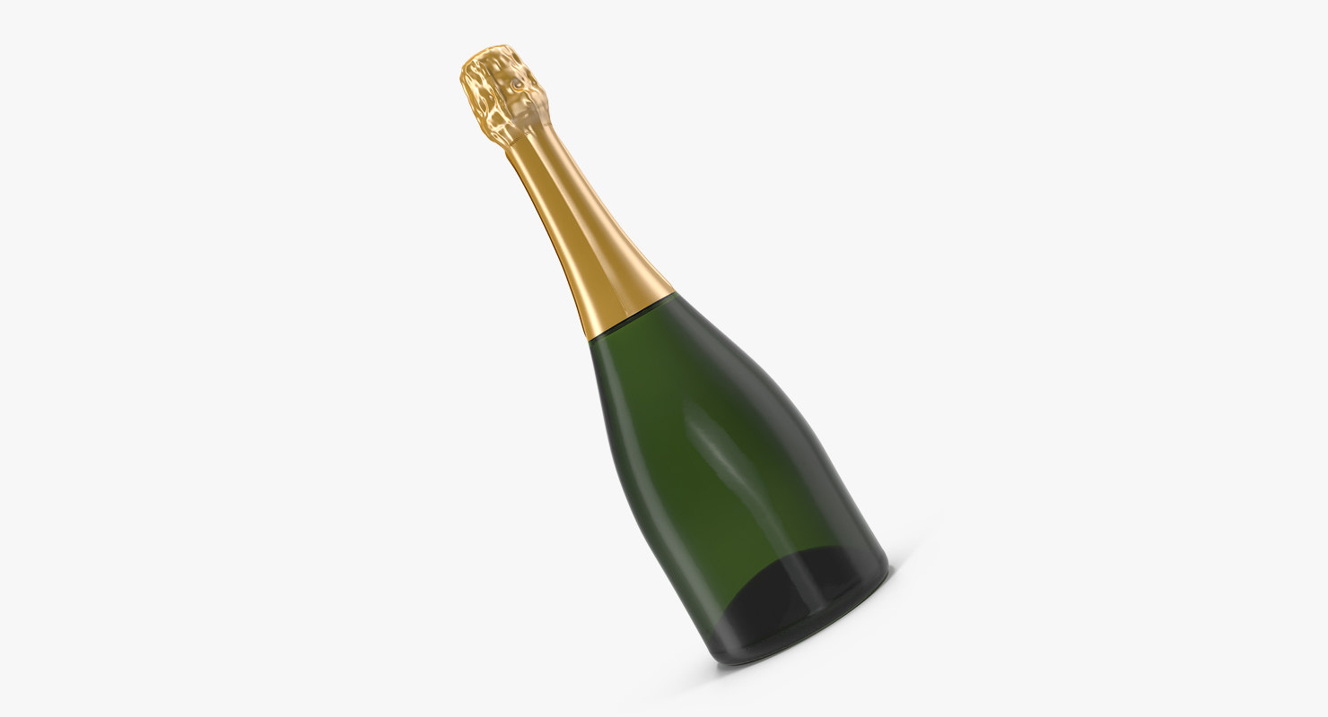 3D closed champagne bottle