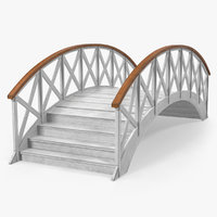 garden wooden footbridge 3D model