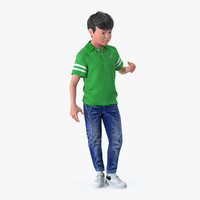 Modern Boy Standing Pose with Fur 3D Model