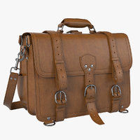 brown saddleback leather briefcase 3D