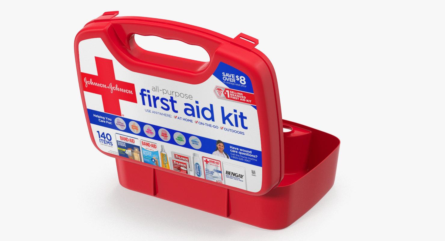 3D model open aid kit bag