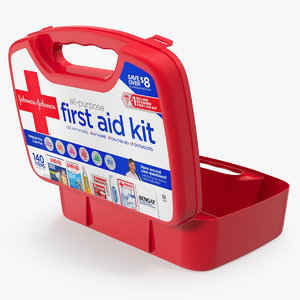 3D model open aid kit bag