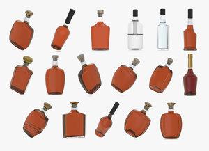 alcohol bottles 3D model