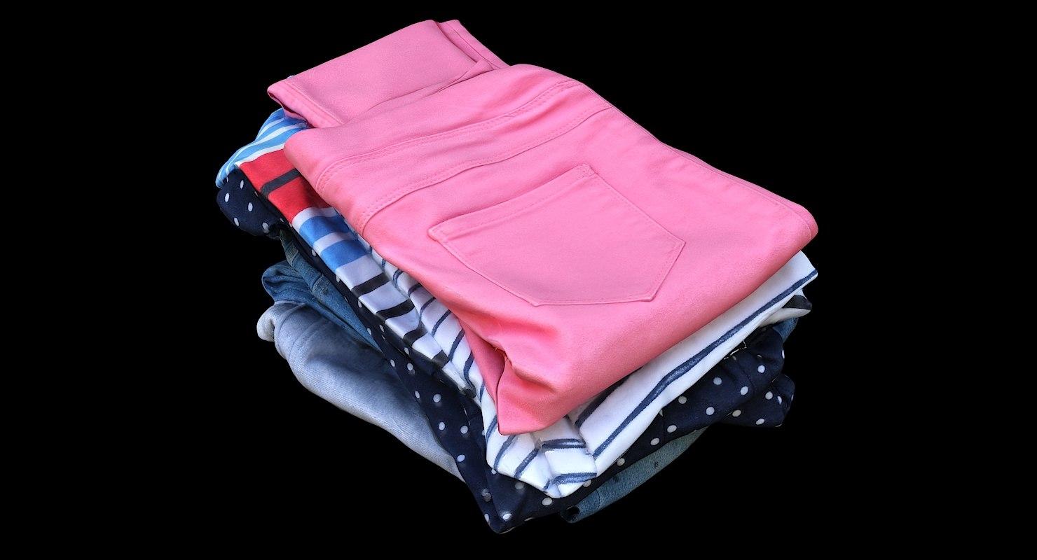 3D pile kids clothes model