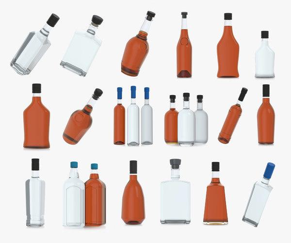 3D alcohol bottles