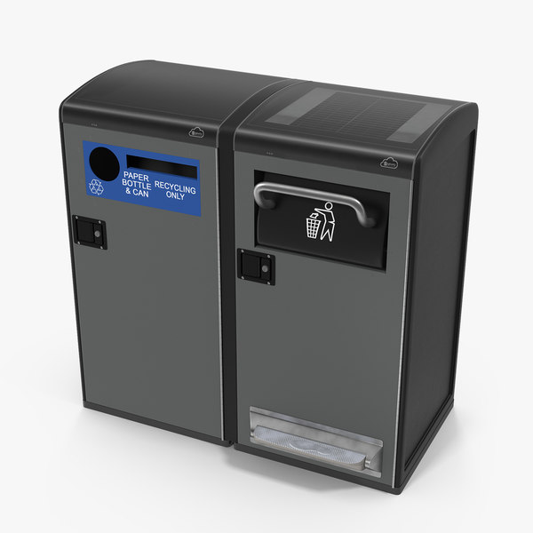 3D solar powered trash cans