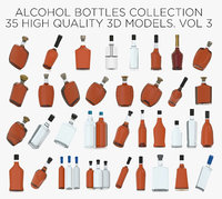 alcohol bottles collected 3D