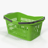 Shopping Plastic Basket with Folded Handles 3D Model
