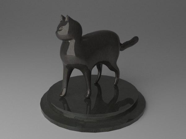 rigged cat statuette 3D model