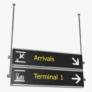 airport signs arrivals terminal 3D