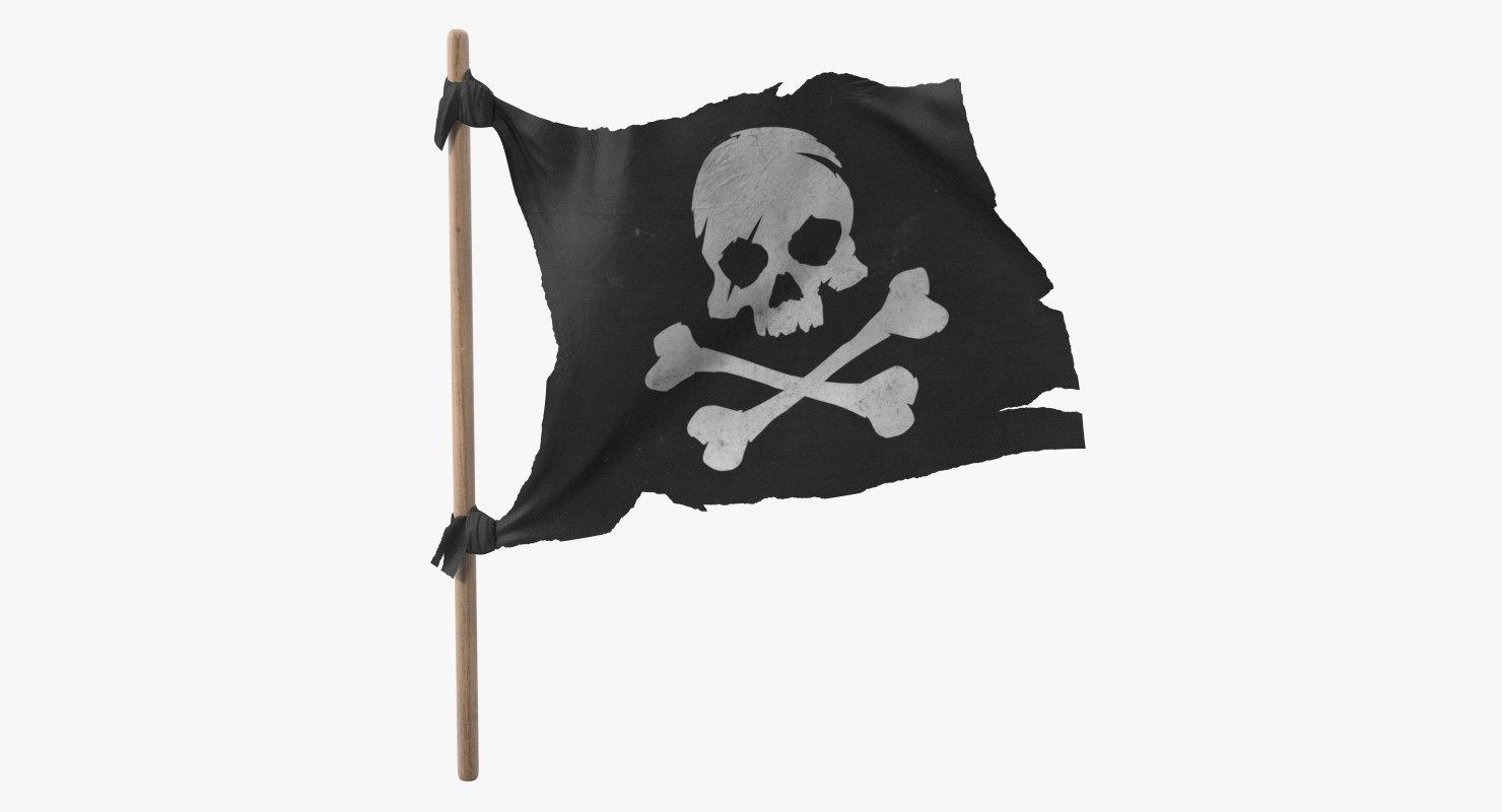 3D pirate skull bones flag