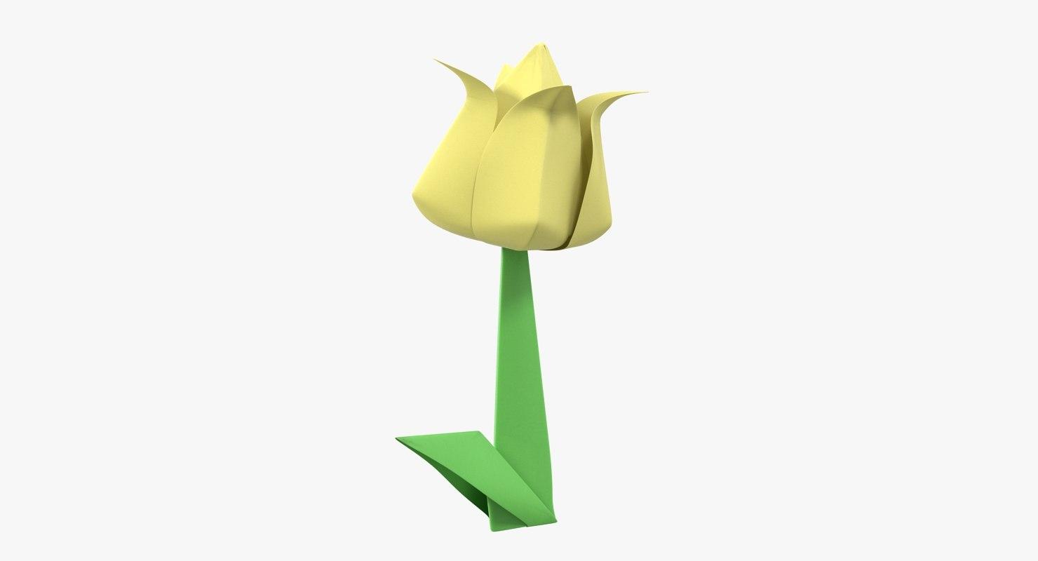 Origami flower yellow tulip 3d turbosquid 1328530 origami flower yellow tulip 3d mightylinksfo