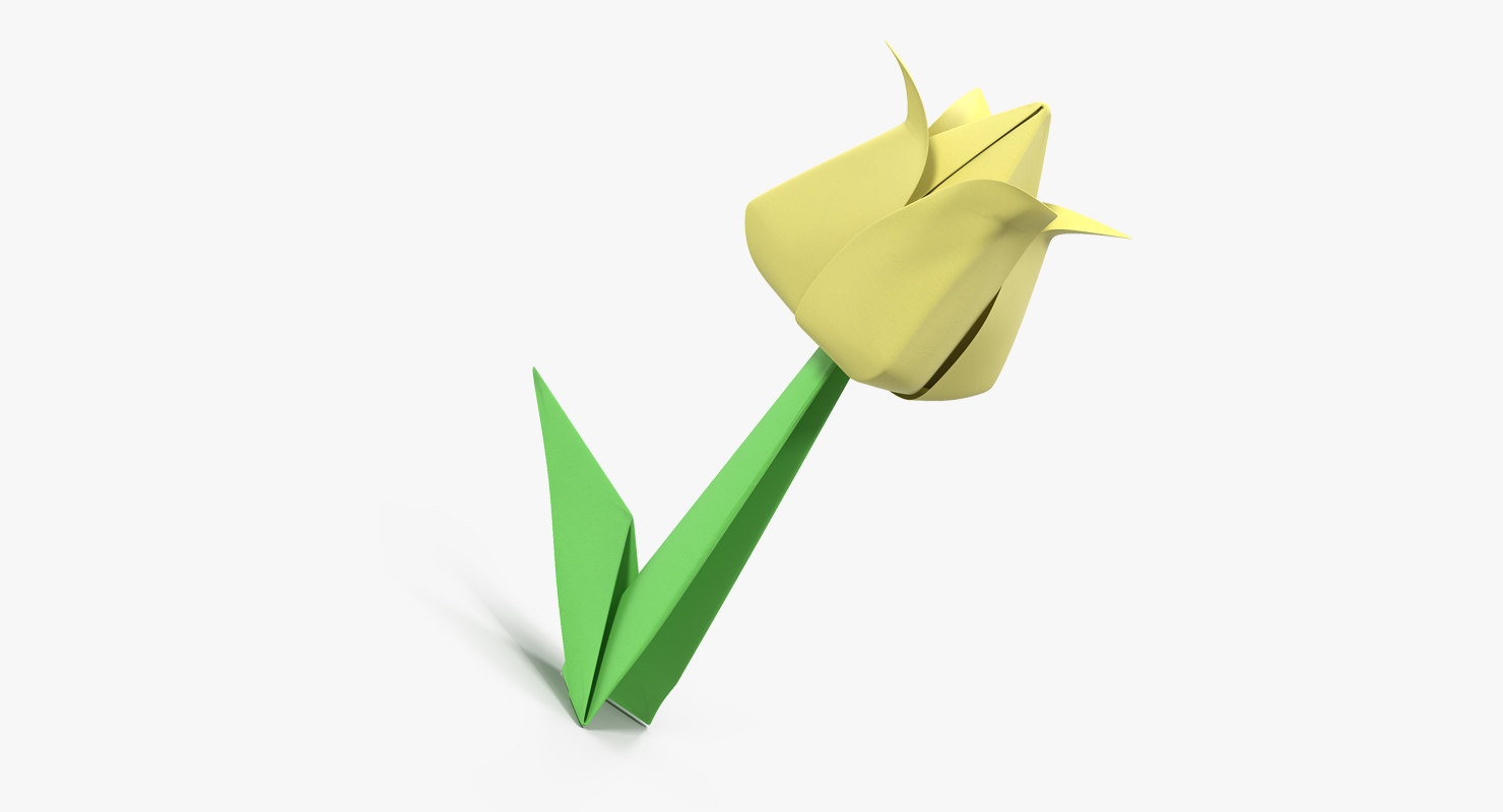 Origami Flower Yellow Tulip 3d Turbosquid 1328530