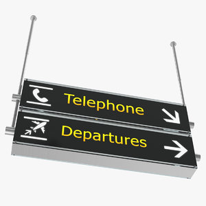 airport signs telephone departures 3D model
