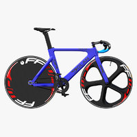 Blue Track Bike Dolan DF4 Carbon Rigged 3D Model