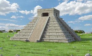 itza mayan pyramid model
