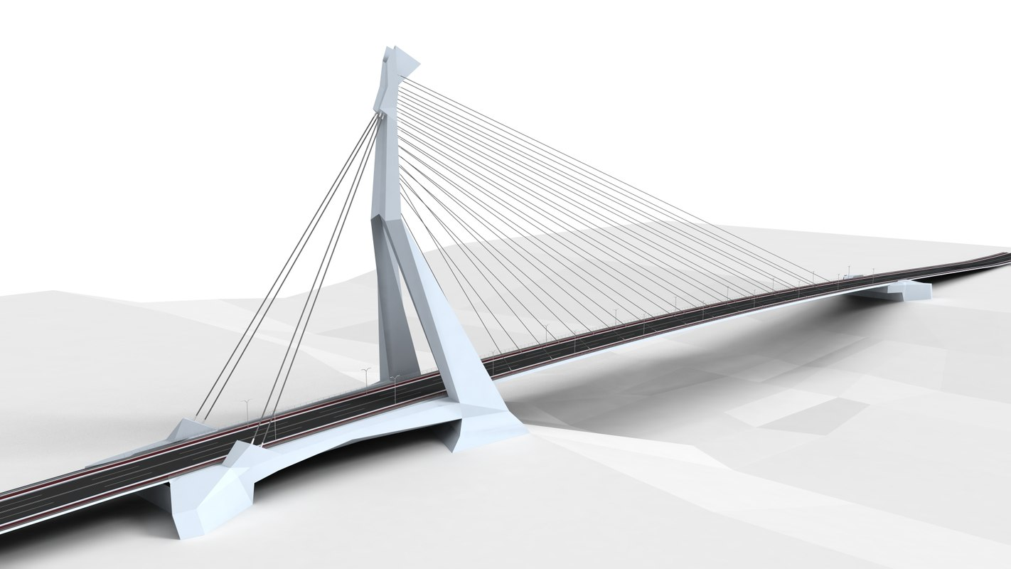3D double pylon bridge model