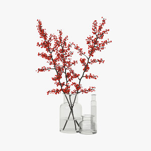 tree branches glass vase 3D model