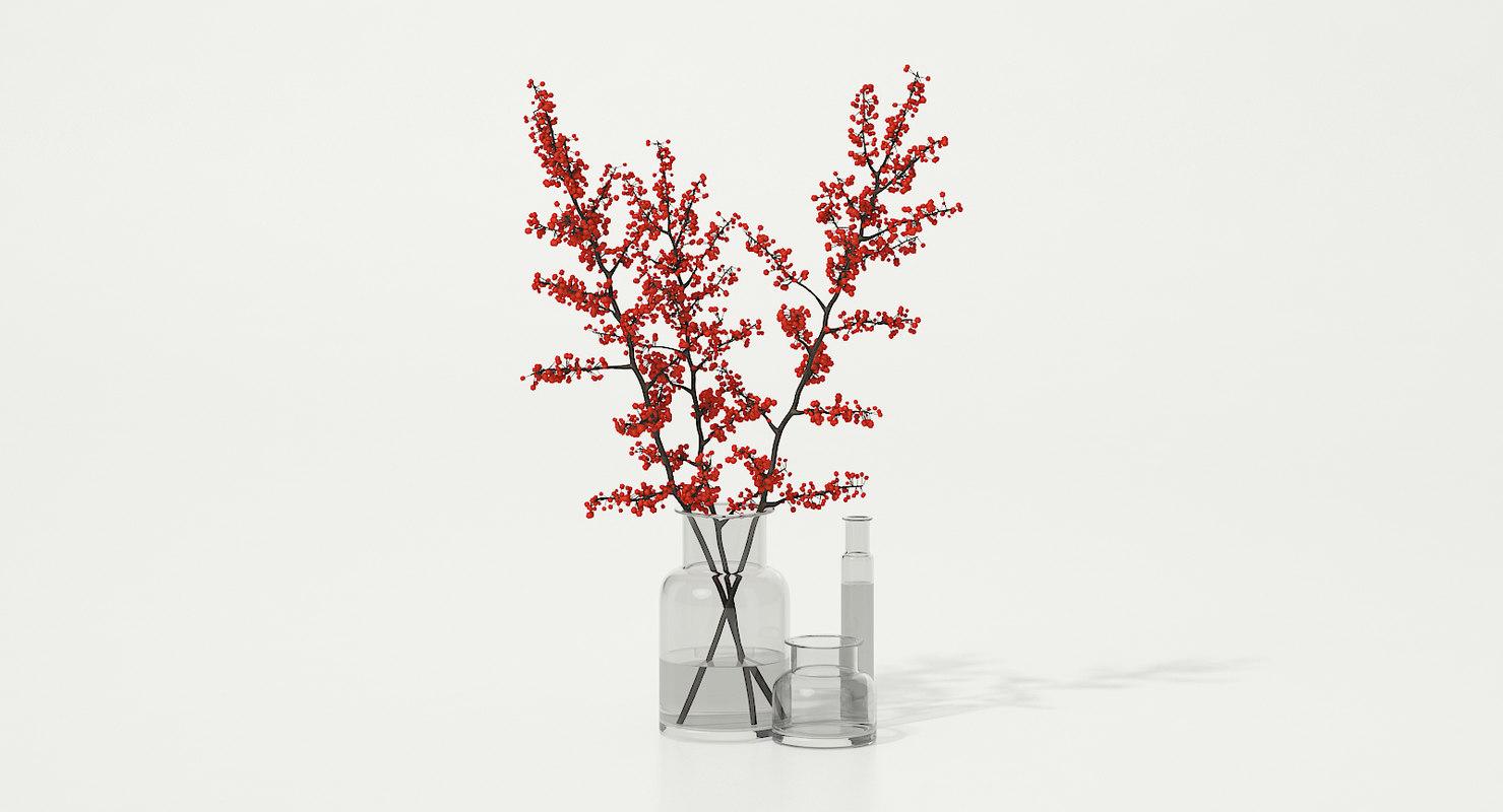 tree branches glass vase 3D model