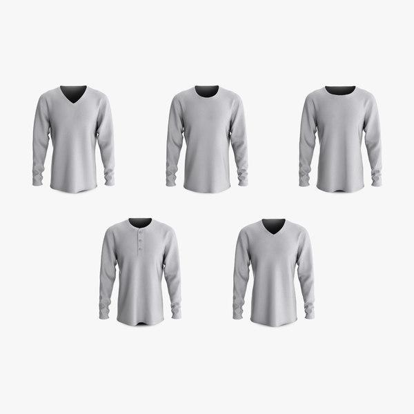 cotton male t-shirts long 3D model